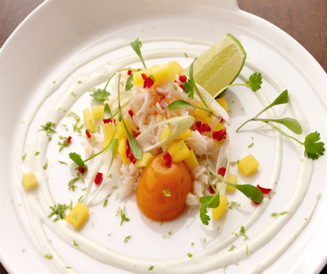 Crab and mango salad with wasabi yoghurt